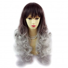 Wiwigs ® Romantic Long Curly Wig Grey & Dark Auburn Dip-Dye Ombre Hair UK