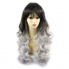 Wiwigs ® Romantic Long Curly Wig Grey & Medium Brown Dip-Dye Ombre Hair UK