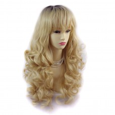 Wiwigs ® Romantic Long Curly Wig Light Golden Blonde & Dark Brown Dip-Dye Ombre Hair UK