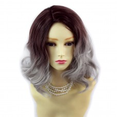 Wiwigs ® Lovely Short Wavy Wig Grey & Dark Auburn Dip-Dye Ombre Hair UK