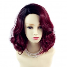 Wiwigs ® Lovely Short Wavy Wig Burgundy & Off Black Dip-Dye Ombre Hair UK