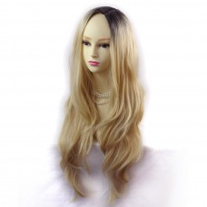 Wiwigs ® Gorgeous Long Wavy Wig Light Golden Blonde & Dark Brown Dip-Dye Ombre Hair UK