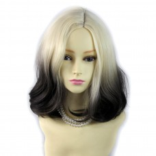 Wiwigs ® Lovely Medium Bob Style Wig Light Blonde & Medium Brown Dip-Dye Ombre Hair UK
