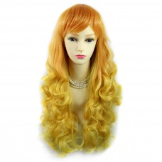 Wiwigs ® Romantic Long Curly Wig Light Orange & Yellow Dip-Dye Ombre Hair UK