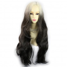 Wiwigs ® Gorgeous Long Wavy Wig Light Blonde & Medium Brown Dip-Dye Ombre Hair UK