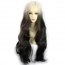 Wiwigs ® Gorgeous Long Wavy Wig Light Blonde & Medium Brown Dip-Dye Ombre Hair UK
