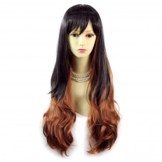 Sexy Beautiful Layered Long Wavy Black mix Red Ladies Wig Skin Top UK