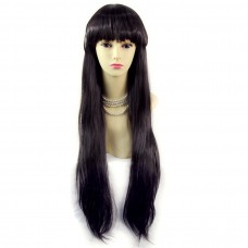 Beautiful Sexy Long Straight DARK Brown Ladies Wigs Skin top Hair UK