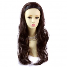 DARK Auburn Brown Long 3/4 Wig Fall Hairpiece with hairband Ladies Wigs UK