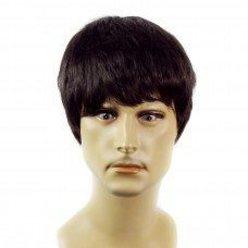 Heat Resistant Layered Long Bangs Cool Man Wig Short Black & Auburn Men's Full Wigs
