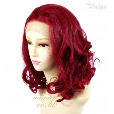 Lovely Medium French Lace Front wig Burgundy Red mix Softly Curly Short Ladies Wigs UK