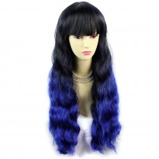 Wonderful Wavy Black Brown & Blue Long Lady Wigs Dip-Dye Ombre hair WIWIGS.