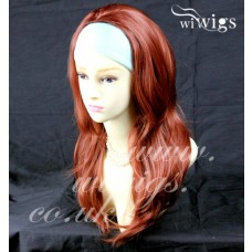 Fox Red 3/4 Fall Hair Piece Long Wavy Layered wavy ends Half Wig hairpiece