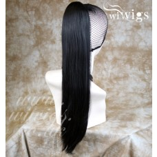 Jet Black Straight Long Ponytail Hair Piece Extension UK #1