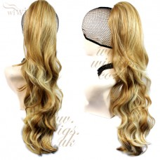 Blonde mix Long Ponytail hairpiece Extension Jaw/Claw Clip in on Wavy Hair Piece