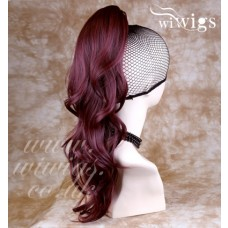 Burgundy Red / Plum Wavy Long Ponytail Hair Piece Extension UK