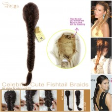Celebrity Cute Medium Brown Auburn Mix Fishtail Braids clip in Ponytail Plaited Hair Extensions DIY