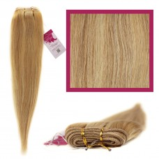 "DIY Double Weft Lush 'Blonde Highlights' 18"" Hair Extensions Deluxe Human Hair."