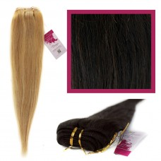 "DIY Double Weft Lush 'Dark Brown' 16"" Hair Extensions Deluxe Human Hair."