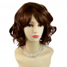 Awesome Lovely Short Wig Curly Light Brown Summer Style Skin Top Ladies Wigs UK