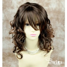 Wavy Long Brown mix Auburn LADIES Off Center Ladies wigs 019