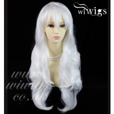 Sexy Beautiful wavy Snowy White Long Ladies Wigs Heat Resistant Cosplay Wig UK
