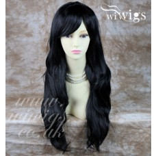 Stunning Heat Resistant XXX Long Wavy Black Ladies Wigs Skin top BANGS Wig UK