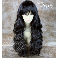 Sexy Beautiful Layered Curly Black Brown Long Ladies Wigs Heat Resistant Wig UK
