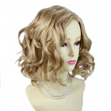 Lovely Short Wig Curly Blonde mix Summer Style Skin Top Ladies Wigs