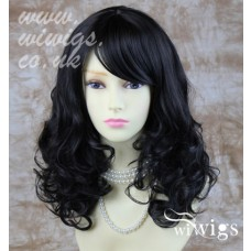 Stunning Heat Resistant Curly Medium Wig Black Brown Skin Top Ladies Wigs