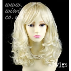 Stunning Heat Resistant Curly Medium Wig Blonde Skin Top Ladies Wigs UK