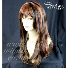 Sexy Beautiful Wavy Blonde mix Black mix Red 3 Tone Long Heat Resistant Wigs UK