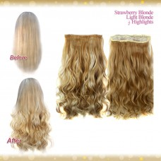 Half head 1 Piece clip In Curly Strawberry Blonde Light Blonde Highlights Hair Extensions UK