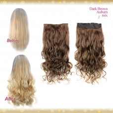 Half head 1 Piece clip In Curly Dark Brown Auburn Mix Hair Extensions UK