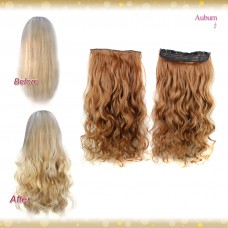 Half head 1 Piece clip In Curly Auburn Hair Extensions UK