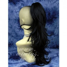 Long BLACK Pony Tail Clip In Hair Extension wig