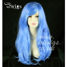 Stunning Long Layes Wavy Blue mix Ladies Wigs Skin Top Cosplay Wig 8352