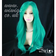 Heat Resistant Cosplay Long Layes Wavy Jade Green mix Ladies Wigs UK