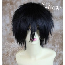 NEW STRIKING Jet Black Man's Wig Short Spikey Style Ladies Wigs Cosplay Wig UK