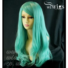 Heat Resistant Cosplay Long Layes Wavy Mint Green Ladies Wigs Skin Top UK