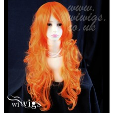 Stunning Long Curly Orange Ladies Wigs Skin Top Cosplay Wig from WIWIGS UK
