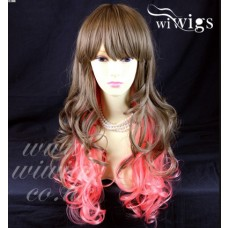 Layered Curly Pink Unique Mixture Brown Long Ladies Heat Resistant Wigs UK