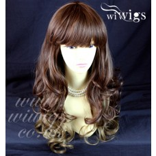 NEW Layered Curly Blonde Unique Mixture Brown Long Ladies Heat Resistant Wigs UK