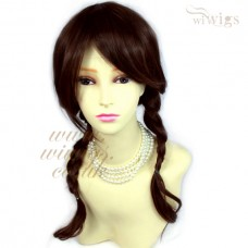 Auburn mix Brown Long Plaited Braided Pigtail Wig School girl Style Ladies Wigs
