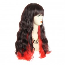 Wiwigs ® Sexy Pretty Long Wavy Dark Brown & Red Ladies Wigs skin top Hair