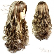 Stunning Sexy Long Wig Brown mix Blonde Curly Ladies Wigs Skin Top UK