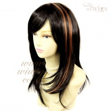 Stunning Layered Long Straight Wig Black & medium Auburn Ladies Wigs Skin Top UK