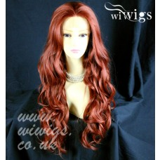 French Lace Front wig Wavy Heat Resistant Fox Red Long Ladies Wigs Layered UK