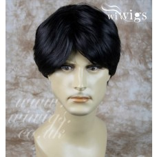 Heat Resistant Layered Long Bangs Cool Man Wig Short BLACK Men's Full Wigs