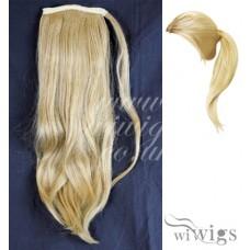 Ladies 1 Piece Clip Golden Blonde mix Straight Ponytail Wrap around Pony UK